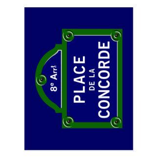 Place de la Concorde, Paris Straßenschild Postkarte