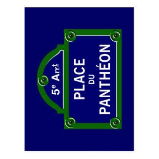 Place du Pantheon, Paris-Straßenschild Postkarte