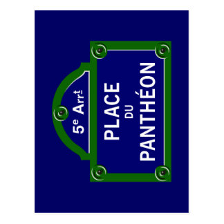 Place du Pantheon, Paris-Straßenschild Postkarten