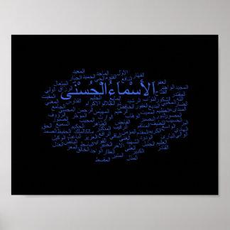 Plakat: 99 Namen von Allah (arabisch) Poster