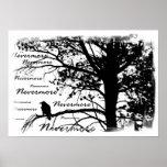 Plakat - B&W Raven Nevermore Silhouette