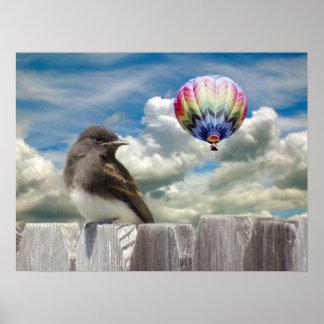 Plakat - Ballon des Vogels und der Heißluft