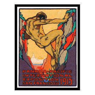 Plakat-Briefmarke, die PPIE, 1915 öffnet Postkarte
