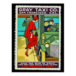 Plakat-Briefmarken-Postkarten-graues Taxi Co. SF Postkarte