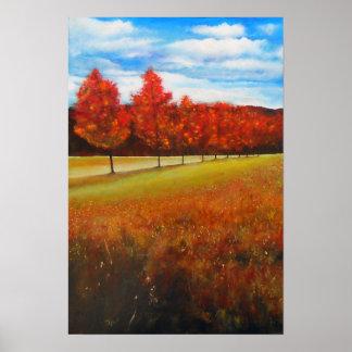 Plakat der Landschaftsherbst-Baum-Acrylmalerei-|