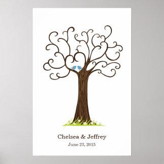Plakat des Fingerabdruck-Baum-(Heartastic dunkles