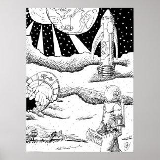 Plakat des Raum-Abbruchs-B&W