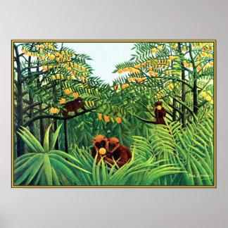 Plakat Druck Affen in der orange Waldung durch Ro