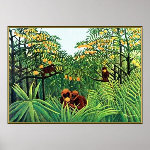 Plakat/Druck: Affen in der orange Waldung durch Ro