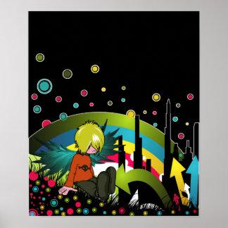Plakat/Druck:  Emo Junge unter gedämpftem Regenbog