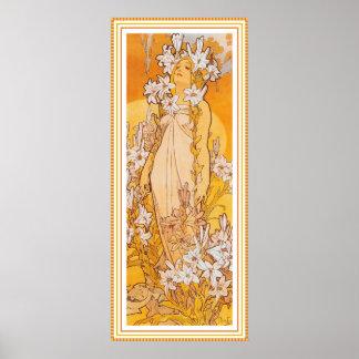 Plakat/Druck: Mucha - Blumen - Lilie Poster