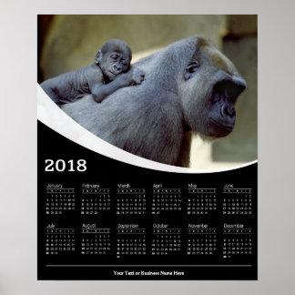 Plakat-Kalender der Gorilla-Mutter-2018 und des Poster