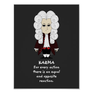 Plakat. Karma u. Newtons 3. Gesetz (dunkler Poster