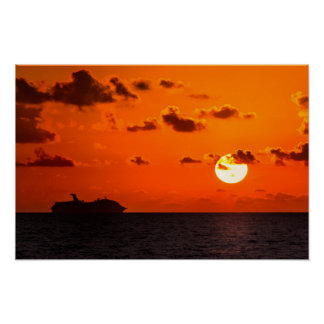 Plakat - Kreuzschiff am Sonnenaufgang - Cancun,