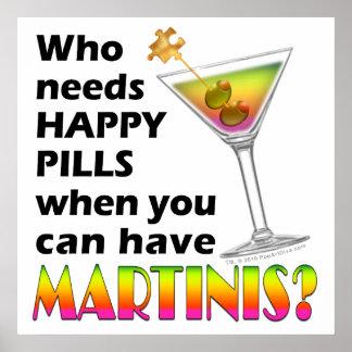 Plakat, Kunst - glückliche Pillen der Martini-V. Poster