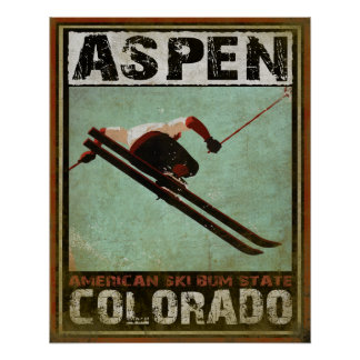 Plakat mit coolem Aspen-Ski-Druck
