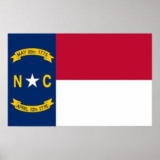 Plakat mit Flagge des North Carolina, USA