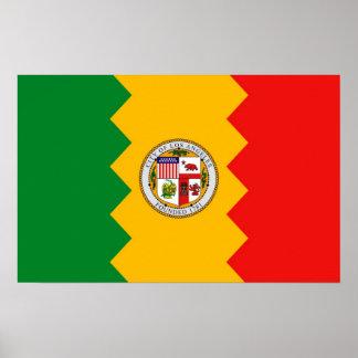 Plakat mit Flagge von Los Angeles, Kalifornien,