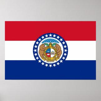 Plakat mit Flagge von Missouri, USA