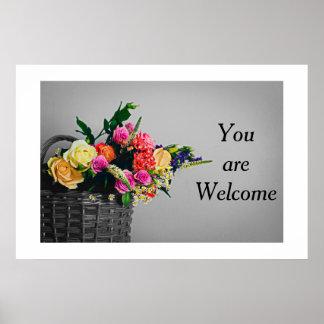Plakat mit Ihrem Korb der Mitteilung | der Blumen