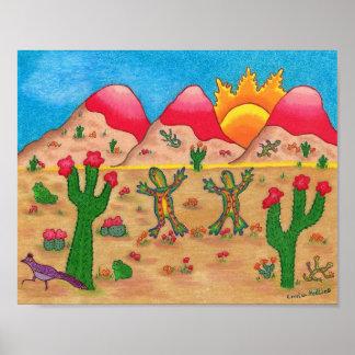 Plakat mit Kaktus und Tanzen Geckos