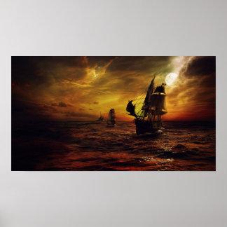 Plakat mit Piraten-Schiff
