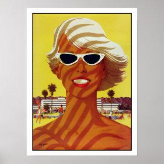 Plakat mit Vintagem Druck vom Strand