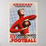Plakat mit Vintagem Fußball-Druck Copa Des Amerika