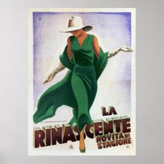 Plakat mit Vintagem italienischem Mode-Druck
