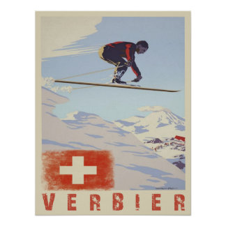 Plakat mit Vintagem Ski-Druck der Schweiz