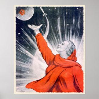 Plakat mit Vintagem UDSSR-Propaganda-Druck