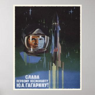 Plakat mit Vintager UDSSR-Raum-Programm-Propaganda