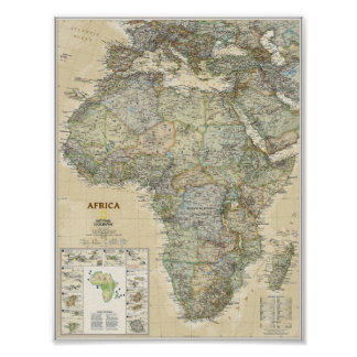 Plakat - nationale geographische Karte Afrikas