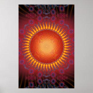 Plakat Psychedelischer Sun Gewundenes Fraktal De
