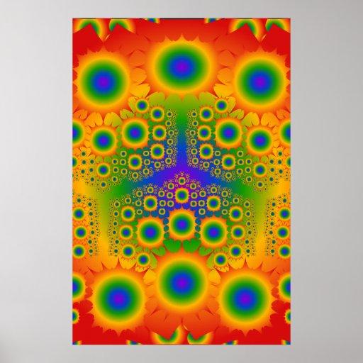 Plakat: Regenbogen-Fraktal-Explosionen: Vektorkuns