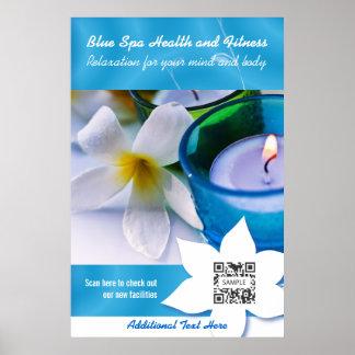 Plakat-Schablonen-Blau-Wellness-Center Poster