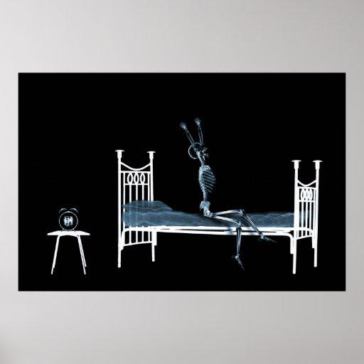 Plakat - Schlafenszeit-Röntgenstrahl-Skeleton schw