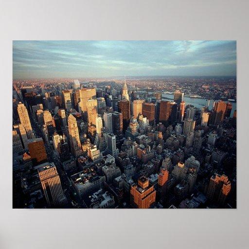 PLAKAT Sun auf New York City ~Distant Chrysler Gbd