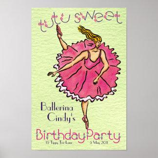 Plakat TutuSweet Ballerina-Geburtstags-Party
