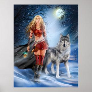 Plakat-Winter-Kriegersprinzessin und -wolf Poster