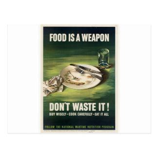 Plakat WW2: Nahrung zu rationieren ist eine Waffe! Postkarte