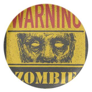 Plakat-Zombie-Ausbruch. Zeichen-Brett mit Zombie Party Teller