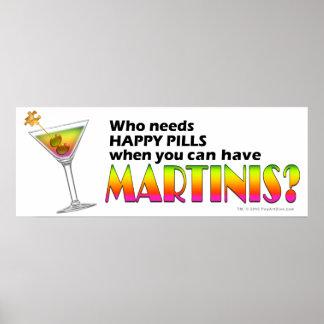 Plakate, Drucke - glückliche Pillen der Martini-V.