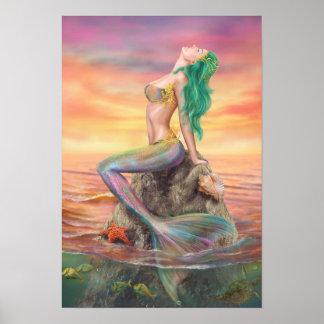 Plakatmeerjungfrau am Sonnenuntergang Poster