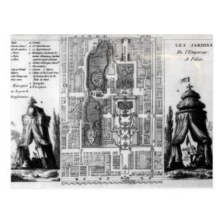 Plan der Gärten des Kaisers von Peking, von Postkarte
