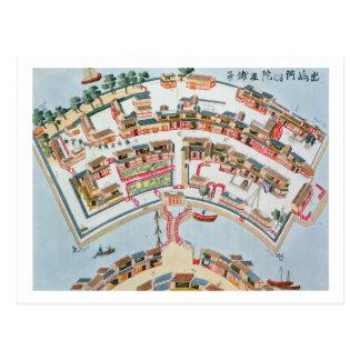 Plan der niederländischen Fabrik in der Insel von Postkarte