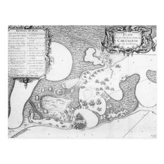 Plan der Stadt und des Hafens von Cartagena Postkarte