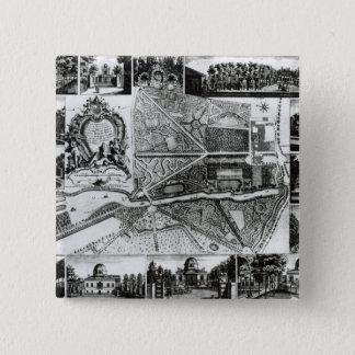 Plan des Gartens und Ansicht der Häuser bei Chisw Quadratischer Button 5,1 Cm