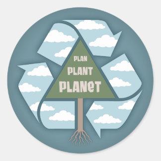 Plan-Pflanze-Planet Runder Aufkleber