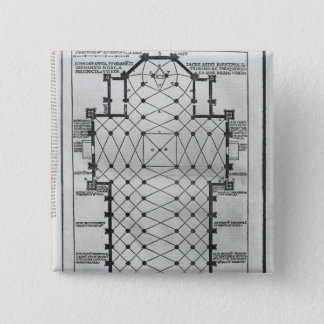 Plan von Mailand-Kathedrale Quadratischer Button 5,1 Cm